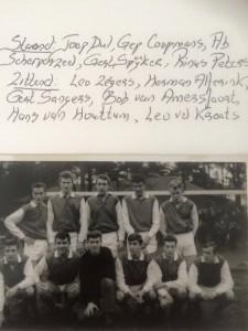 Gert Spijker - Betaalde jeugd AGOVV 1964 1965 — Joop Dul, Gep Coopmans, Ab Scherpenzeel en Gert Spijker.